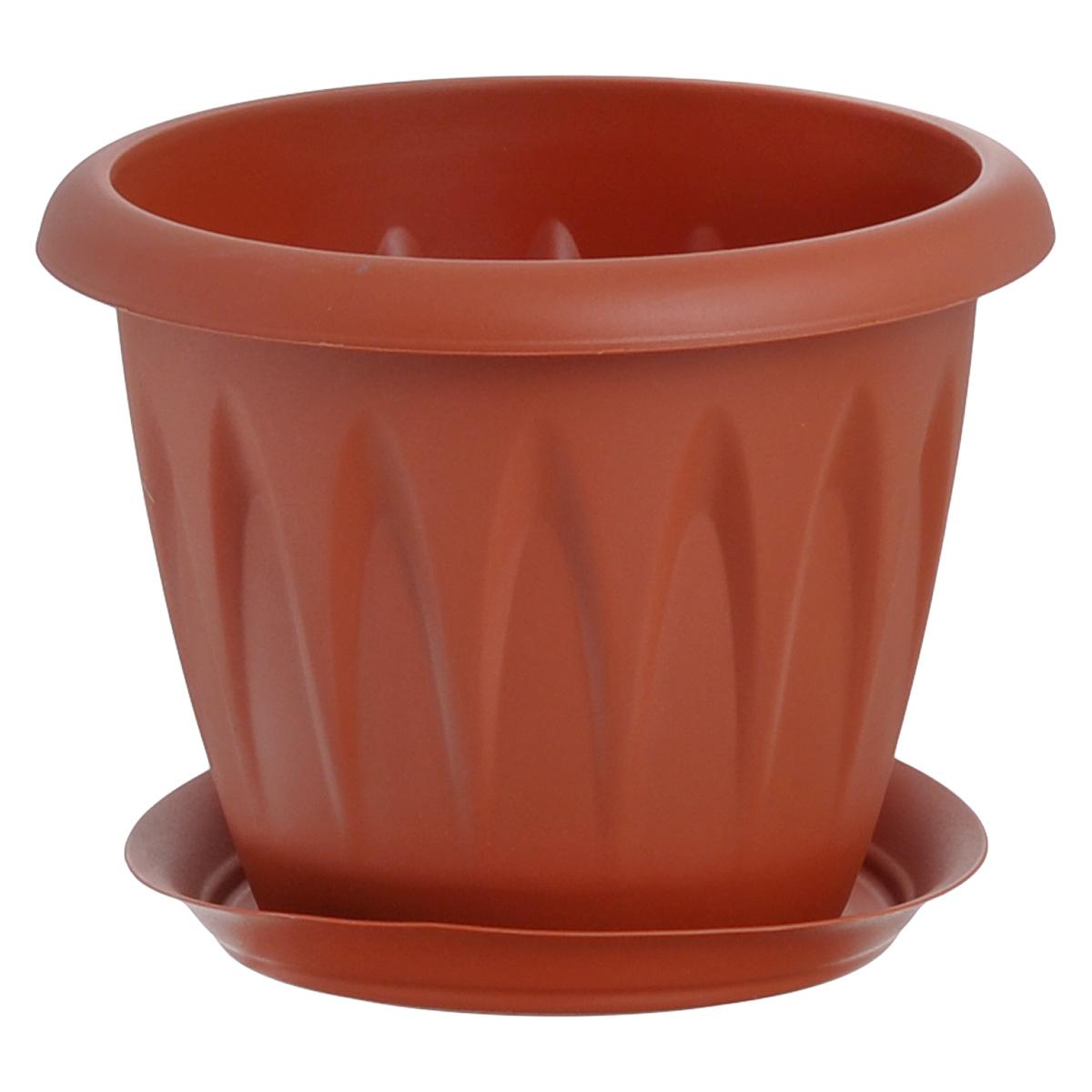 Кашпо Idea Алиция, с поддоном, цвет: терракотовый, 1,4 лМ 3065Кашпо Idea Алиция изготовлено из прочного полипропилена (пластика) и предназначено для выращивания растений, цветов и трав в домашних условиях. Круглый поддон обеспечивает сток воды. Такое кашпо порадует вас функциональностью, а благодаря лаконичному дизайну впишется в любой интерьер помещения. Диаметр кашпо по верхнему краю: 16 см. Объем кашпо: 1,4 л.