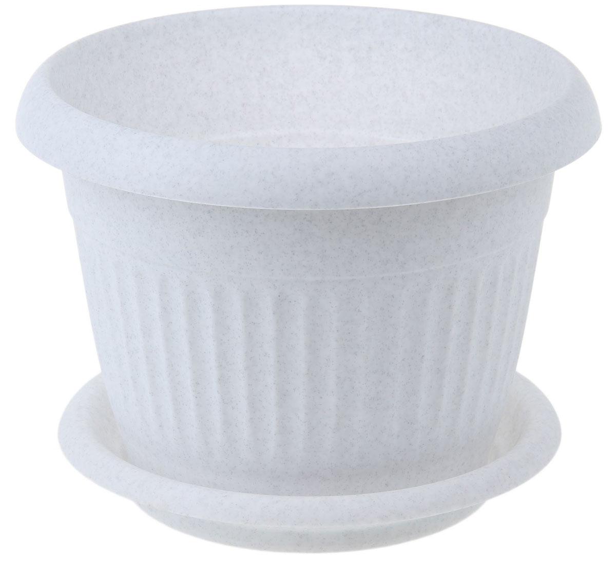 Кашпо Idea Ливия, с поддоном, цвет: мраморный, 4,6 лМ 3020Кашпо Idea Ливия изготовлено из прочного полипропилена (пластика) и предназначено для выращивания растений, цветов и трав в домашних условиях. Круглый поддон обеспечивает сток воды. Такое кашпо порадует вас функциональностью, а благодаря лаконичному дизайну впишется в любой интерьер помещения. Диаметр кашпо по внешнему краю: 24 см. Объем кашпо: 4,6 л.