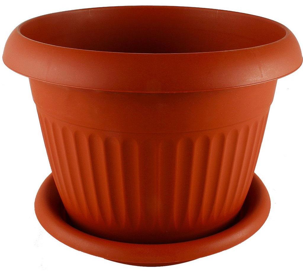 Кашпо Idea Ливия, с поддоном, диаметр 320 мм, 11 л, цвет: терракотовыйМ 3022
