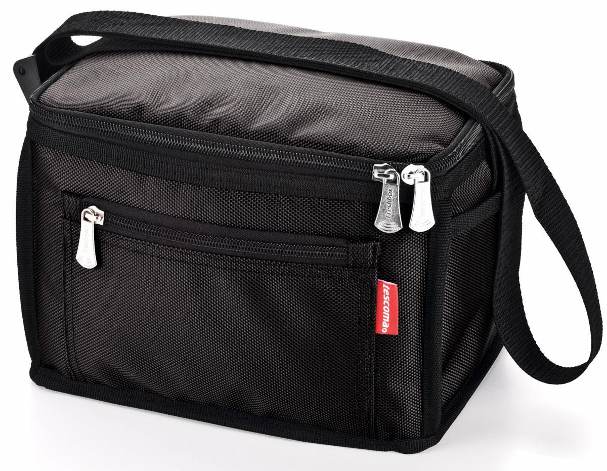 Термосумка Tescoma Freshbox, цвет: черный, . 892205892205Сохраняет температуру пищи горячей или холодной в течение длительного времени. Идеально подходит для поездок, в школу и на работу, пикники, пляж, и т.д. Храните продукты в сумке в прямоугольных контейнерах FRESHBOX 0,5 л или 1,5 л или в контейнерах подобных размеров. С эффективной теплоизоляционной вставкой, регулируемым ремешком и карманом с застежкой-молнией. Изготовлено из стойкой полиэфирной ткани. 5-летняя гарантия.