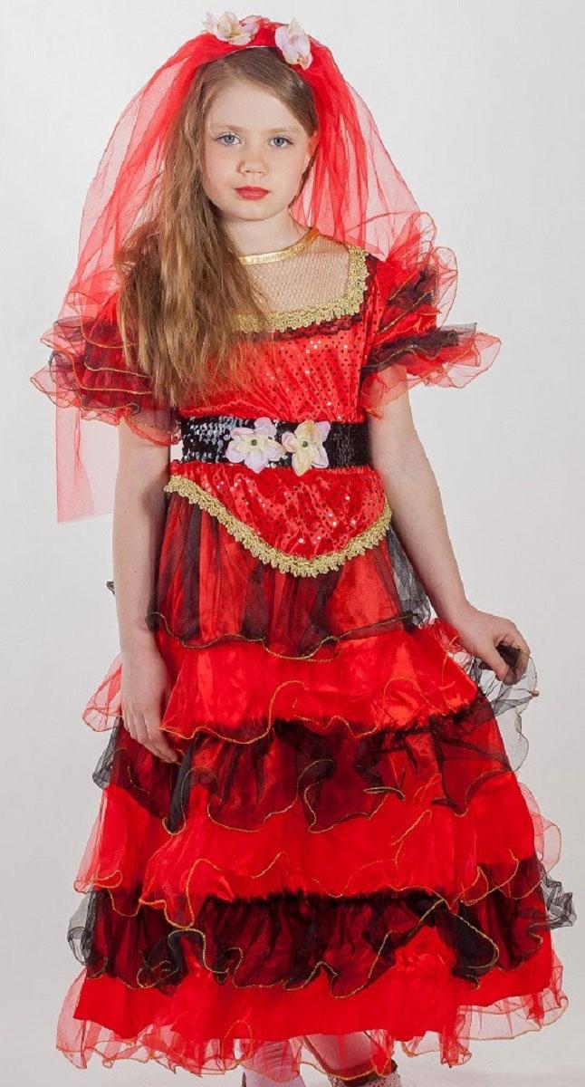 Карнавалия Карнавальный костюм для девочки Испанка размер 13485013Яркий детский карнавальный костюм Испанка позволит вашей малышке быть самой красивой девочкой на детском утреннике, бале-маскараде или карнавале. Костюм состоит из платья, пояса и фаты. Шикарное длинное платье красного цвета дополнено золотистыми кружевами и прозрачными воланами. Пояс из черных пайеток декорирован яркими цветочками. Двойная фата красного цвета закреплена на прозрачном гребешке и дополнена капроновыми цветочками. Такой карнавальный костюм привлечет внимание друзей вашей малышки и подчеркнет её индивидуальность. Веселое настроение и масса положительных эмоций будут обеспечены! Ткань: 100% полиэстер. Костюм рассчитан на рост ребенка 134 см.