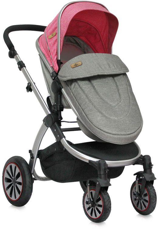 Lorelli Коляска-трансформер Aurora City Girl цвет розовый серый надувные колеса
