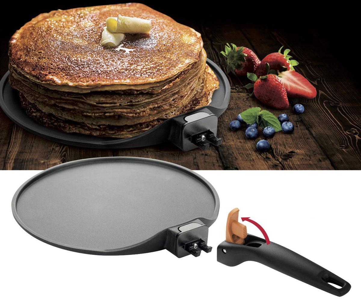 Сковорода для блинов Tescoma Smart Click, с антипригарным покрытием, со съемной ручкой. Диаметр 26 см605086Сковорода Tescoma Smart Click изготовлена из нержавеющей стали с качественным антипригарным покрытием, которое препятствует пригоранию. Отличные антипригарные свойства покрытия позволяют готовить практически без масла, что делает ваши блюда менее жирными и калорийными. Идеально плоская поверхность с низкой кромкой подходит для приготовления блинчиков и яичницы. Эргономичная съемная ручка изготовлена из прочного пластика. Подходит для электрических, газовых видов плит и конвекторных печей, кроме индукционных. А также можно использовать в посудомоечной машине. Диаметр сковороды: 26 см. Высота стенки: 1,5 см.