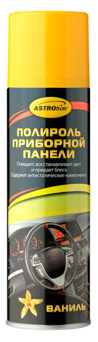 Полироль приборной панели ASTROhim Ваниль, 335 млАС-2331Полироль приборной панели ASTROhim не только сохранит первоначальный вид пластика надолго, но и защитит от факторов, влияющих на его старение, таких как перепады температур и ультрафиолетовое излучение. Особенности: - Эффективно очищает и полирует элементы интерьера автомобиля из пластика, винила, резины и кожзаменителя. - Придает эффектный глянцевый блеск. - Образует на поверхности тонкую полимерную пленку, которая защищает от разрушительного действия ультрафиолетового излучения, предотвращает выгорание и растрескивание пластика. - Восстанавливает цвет пластиковой отделки. - Предотвращает притягивание пыли к приборной панели, так как содержит антистатические компоненты. - Не оставляет жирной и липкой пленки. - Обладает приятным ароматом. - Не содержит спирт, поэтому безопасен для всех видов пластика. Товар сертифицирован.