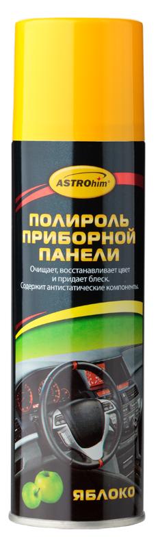 Полироль приборной панели ASTROhim Яблоко, 335 млАС-2337Полироль ASTROhim Яблоко эффективно очищает и полирует элементы интерьера автомобиля из пластика, винила, резины и кожзаменителя. Придает эффектный глянцевый блеск. Образует на поверхности тонкую полимерную пленку, которая защищает от разрушительного действия ультрафиолетового излучения, предотвращает выгорание и растрескивание пластика. Восстанавливает цвет пластиковой отделки. Предотвращает притягивание пыли к приборной панели, так как содержит антистатические компоненты. Обладает приятным ароматом. Не оставляет жирной и липкой пленки. Не содержит спирт, поэтому безопасен для всех видов пластика. Товар сертифицирован. Уважаемые клиенты! Обращаем внимание на тот факт, что дизайн товара может отличаться от представленного на фото.