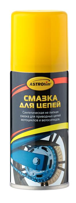 Смазка для цепей ASTROhim, 140 млАС-4561Смазка для цепей ASTROhim не только избавляет от неприятного скрипа и уменьшает трение, но и продлевает срок службы цепи. Особенности: - Разработана специально для приводных цепей, не липкая. - Применяется в тех случаях, когда недопустимо использование липких смазок из-за налипания пыли, грязи и песка. - Подходит для всех типов цепей мотоциклов (без уплотнителей и с уплотнителями типа О-ring, X-ring, Z-ring), а также цепей картов и велосипедов. - Увеличивает срок службы цепи, уменьшая трение и не давая развиваться коррозии. - После нанесения образует устойчивую к воздействию воды и растворам солей смазывающую пленку, которая обеспечивает высокую защиту в широком интервале температур (от -15°С до +150°С) независимо от нагрузок и скоростей эксплуатации. - Смазка имеет синий цвет, что помогает контролировать ее нанесение и расход. - Благодаря аэрозольной форме упаковки улучшает проникновение смазки в труднодоступные участки. ...