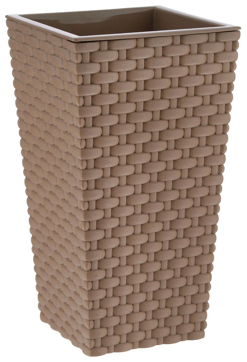 Кашпо Idea Ротанг, со вставкой, цвет: бежевый, 13,5 х 13,5 х 25 смМ 3085Кашпо Idea Ротанг изготовлено из высококачественного пластика с плетеной текстурой. В комплекте пластиковая вставка, которая вставляется в кашпо. Такое кашпо прекрасно подойдет для выращивания растений и цветов в домашних условиях. Лаконичный дизайн впишется в интерьер любого помещения. Размер кашпо: 13,5 см х 13,5 см х 25 см. Размер вставки: 13,5 см х 13,5 см х 13 см.