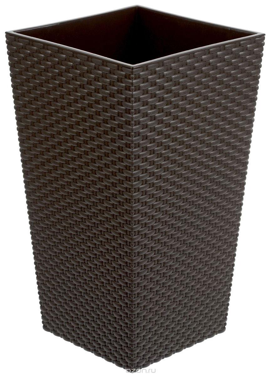 Кашпо Idea Ротанг, со вставкой, цвет: коричневый, 13,5 х 13,5 х 25 смМ 3085Кашпо Idea Ротанг изготовлено из высококачественного пластика с плетеной текстурой. В комплекте пластиковая вставка, которая вставляется в кашпо. Такое кашпо прекрасно подойдет для выращивания растений и цветов в домашних условиях. Лаконичный дизайн впишется в интерьер любого помещения. Размер кашпо: 13,5 см х 13,5 см х 25 см. Размер вставки: 13,5 см х 13,5 см х 13 см.