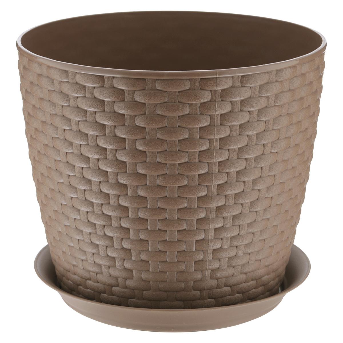 Кашпо Idea Ротанг, с поддоном, цвет: бежевый, 4,7 лМ 3083Кашпо Idea Ротанг изготовлено из высококачественного пластика. Специальный поддон предназначен для стока воды. Изделие прекрасно подходит для выращивания растений и цветов в домашних условиях. Лаконичный дизайн впишется в интерьер любого помещения. Диаметр поддона: 19,5 см. Объем кашпо: 4,7 л. Диаметр кашпо по верхнему краю: 21 см. Высота кашпо: 18 см.