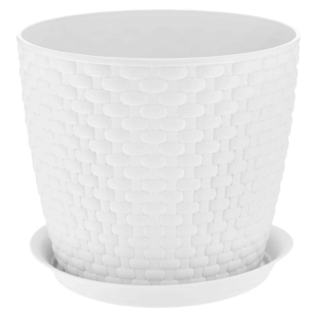 Кашпо Idea Ротанг, с поддоном, цвет: белый, 4,7 лМ 3083Кашпо Idea Ротанг изготовлено из высококачественного пластика. Специальный поддон предназначен для стока воды. Изделие прекрасно подходит для выращивания растений и цветов в домашних условиях. Лаконичный дизайн впишется в интерьер любого помещения. Диаметр поддона: 19,5 см. Объем кашпо: 4,7 л. Диаметр кашпо по верхнему краю: 21 см. Высота кашпо: 18 см.