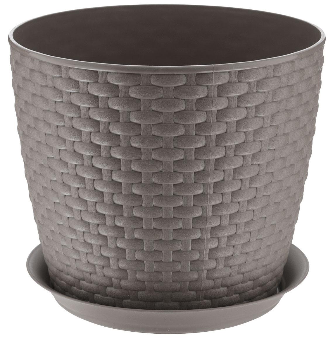 Кашпо Idea Ротанг, с поддоном, цвет: коричневый, 4,7 лМ 3083Кашпо Idea Ротанг изготовлено из высококачественного пластика. Специальный поддон предназначен для стока воды. Изделие прекрасно подходит для выращивания растений и цветов в домашних условиях. Лаконичный дизайн впишется в интерьер любого помещения. Диаметр поддона: 19,5 см. Объем кашпо: 4,7 л. Диаметр кашпо по верхнему краю: 21 см. Высота кашпо: 18 см.