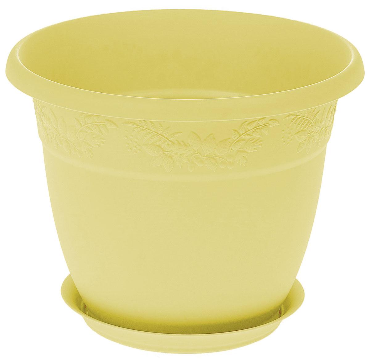 Кашпо Idea Рябина, с поддоном, диаметр 220 мм, 3,6 л, цвет: банановыйМ 3055