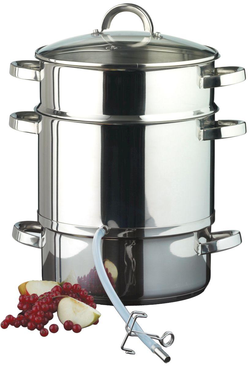 Соковарка Axentia с крышкой, 8 л292035Соковарка Axentia, изготовленная из нержавеющей стали, предназначена для бережного приготовления соков из овощей и фруктов. Состоит из контейнера для готового сока, бака для воды, сетчатого фильтра, ударопрочной и жаропрочной стеклянной крышки, силиконовой трубки с фиксатором. Оптимальная теплопроводность позволяет экономить электропотребление при использовании на электрических плитах. Подходит для всех видов плит и варочных панелей, включая индукционные. Можно мыть в посудомоечной машине. Длина силиконовой трубки: 30 см.