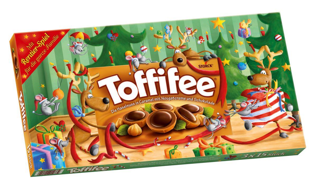 Toffife Олени конфеты орешки в карамели, 375 г019728Секрет конфет Toffifee в интересном сочетании вкуснейших ингредиентов: отборный цельный лесной орех в чашечке из мягкой карамели, наполненной нежной кремовой нугой и покрытой восхитительным шоколадом! Toffifee – это невероятно вкусные конфеты, которые понравятся и взрослым, и детям!
