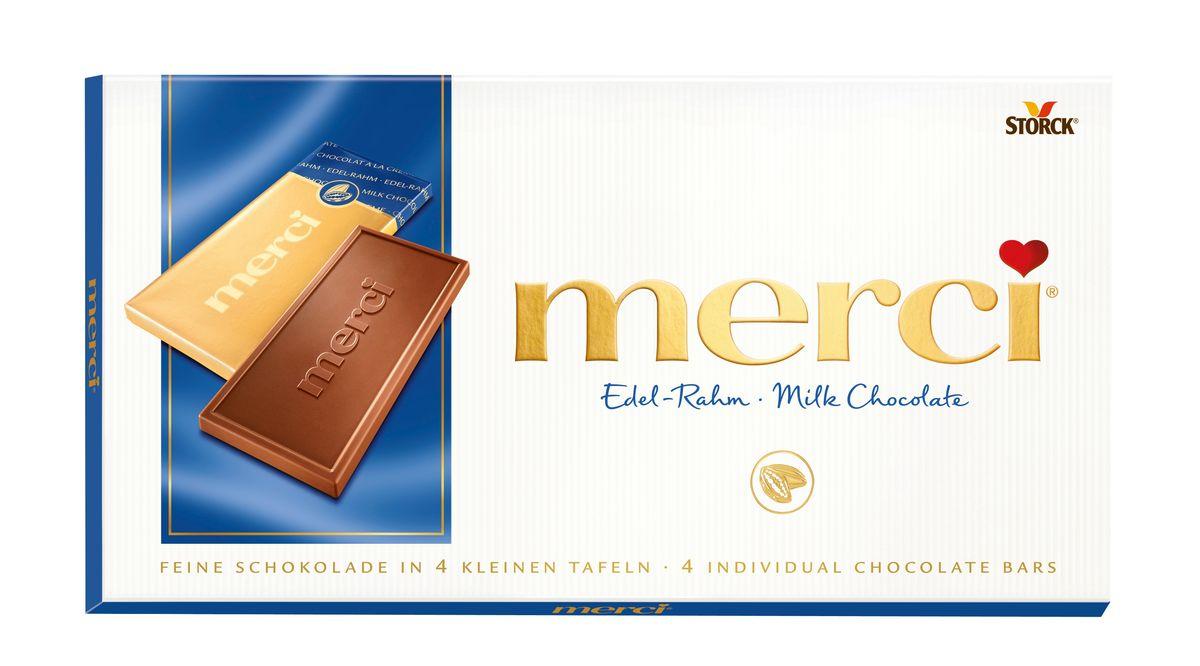 Merci Шоколад молочный, 100 г140002Merci шоколадные плитки – это шоколад высочайшего немецкого качества. Оригинальная упаковка в виде конверта содержит четыре изящных индивидуально упакованных плиточки шоколада. Шоколадные плитки Merci представлены в шести вкусах: Молочный шоколад, Горький шоколад, Лесной орех и миндаль, Кофе и сливки, Ореховый крем, Марципан.