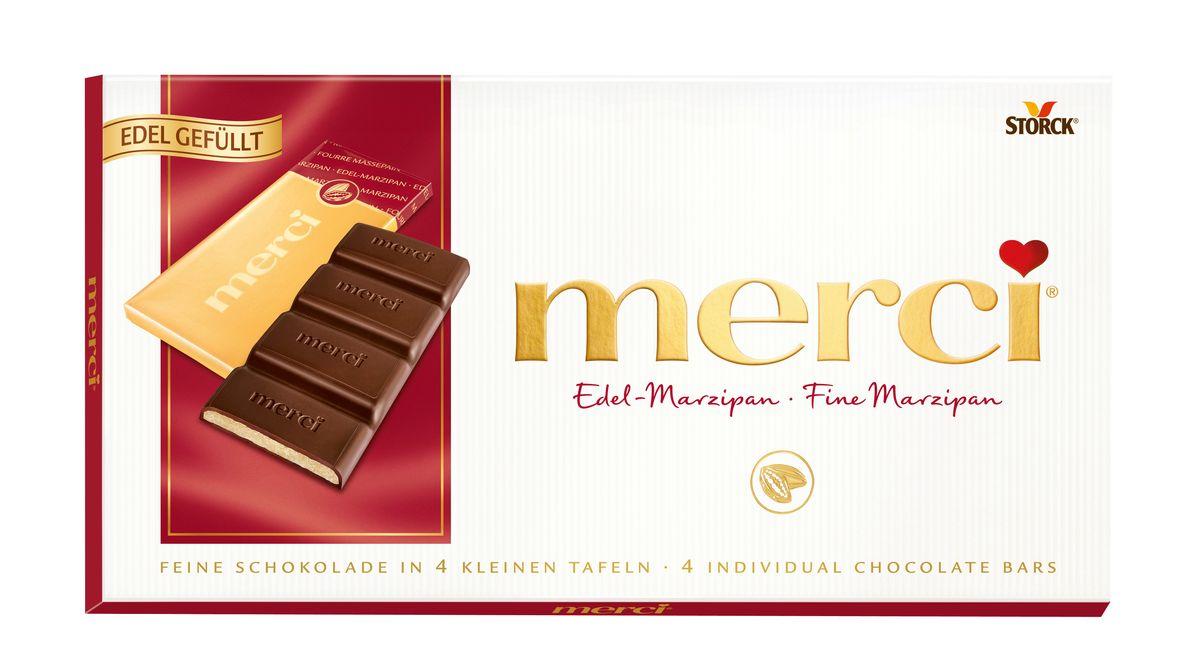 Merci шоколадные плитки – это шоколад высочайшего немецкого качества. Оригинальная упаковка в виде конверта содержит четыре изящных индивидуально упакованных плиточки шоколада. Шоколадные плитки merci представлены в шести вкусах: Молочный шоколад, Горький шоколад, Лесной орех и миндаль, Кофе и сливки, Ореховый крем, Марципан.