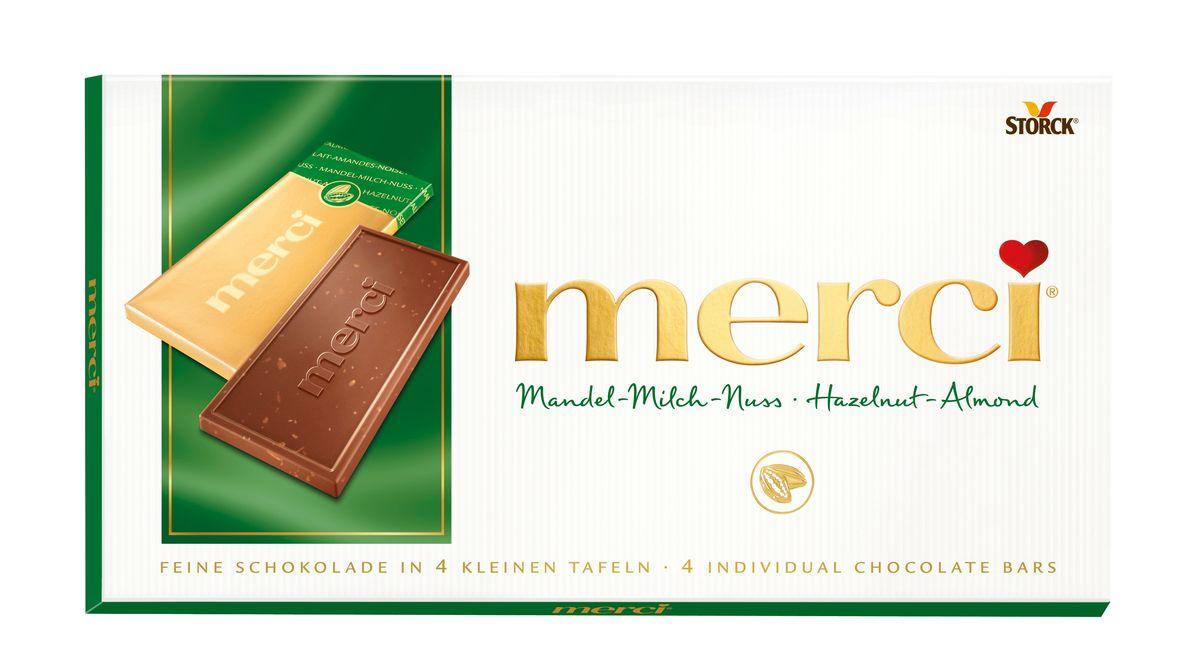 Merci Шоколад лесной орех и миндаль, 100 г140026Merci шоколадные плитки – это шоколад высочайшего немецкого качества. Оригинальная упаковка в виде конверта содержит четыре изящных индивидуально упакованных плиточки шоколада. Шоколадные плитки merci представлены в шести вкусах: Молочный шоколад, Горький шоколад, Лесной орех и миндаль, Кофе и сливки, Ореховый крем, Марципан.