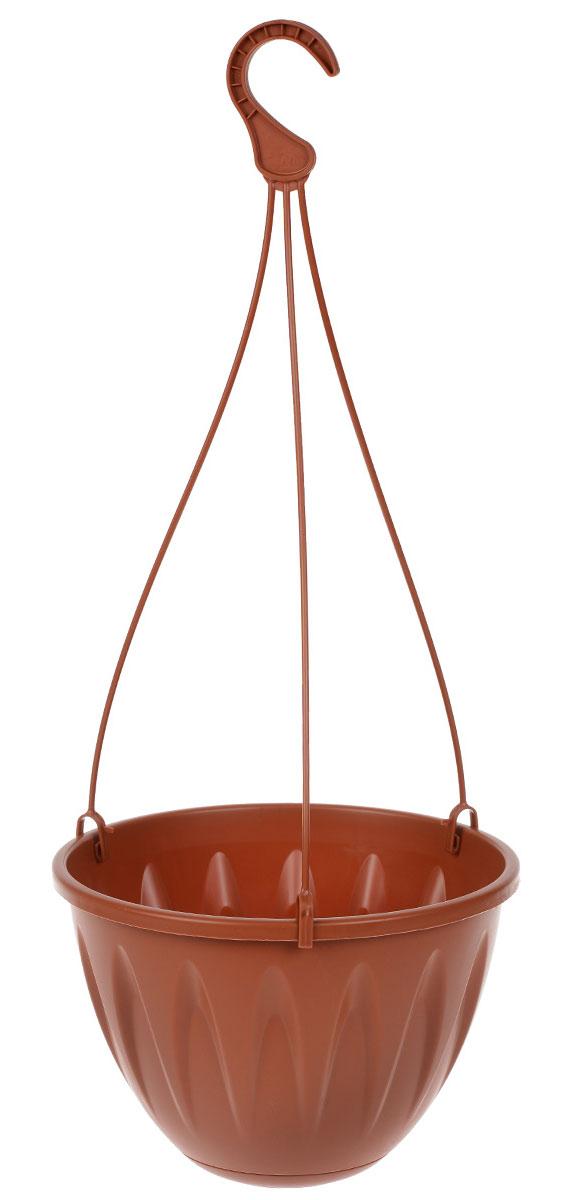 Кашпо подвесное Idea Алиция, с поддоном, цвет: терракотовый, диаметр 22 смМ 3115Подвесное кашпо Idea Алиция изготовлено из высококачественного пластика. Специальный поддон предназначен для стока воды. Изделие подвешивается с помощью тройных пластиковых усов с крючком и прекрасно подходит для выращивания растений и цветов в домашних условиях, а также в саду и на приусадебном участке. Стильный дизайн кашпо станет отличным дополнением интерьера. Диаметр поддона: 12 см. Длина усов (с учетом крючка): 47 см.