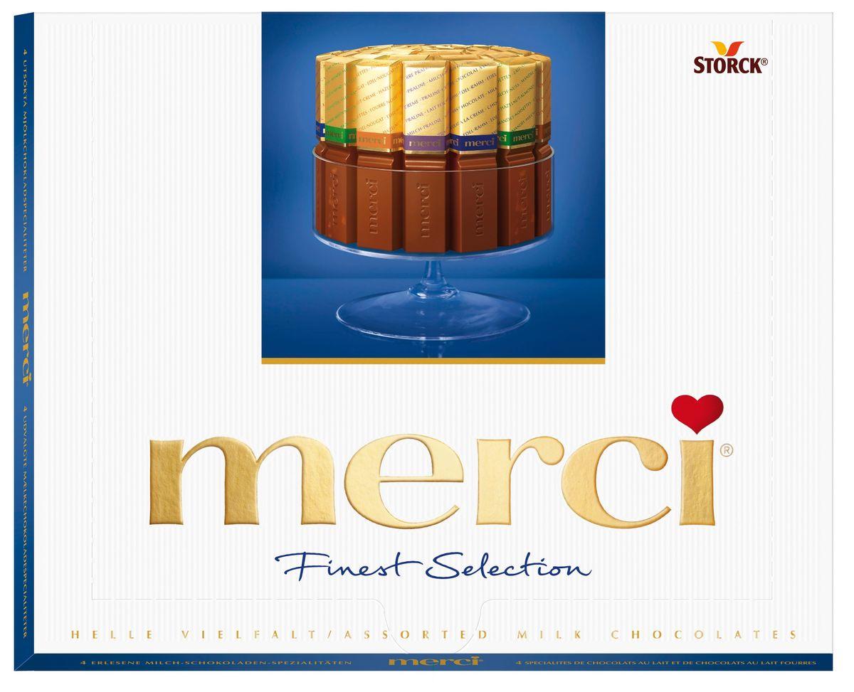 Merci Конфеты молочные Ассорти, цвет синий, 250 г015416Merci Finest Selection - это великолепное ассорти из уникальной коллекции изысканного шоколада, для производства которого используются ингредиенты высокого качества. Наборы шоколадных конфета merci представлены в четырех вкусах: Ассорти, Ассорти Молочный, Ассорти Темный, Ассорти Миндаль. Как еще выразить благодарность от всего сердца близкому Вам человеку?