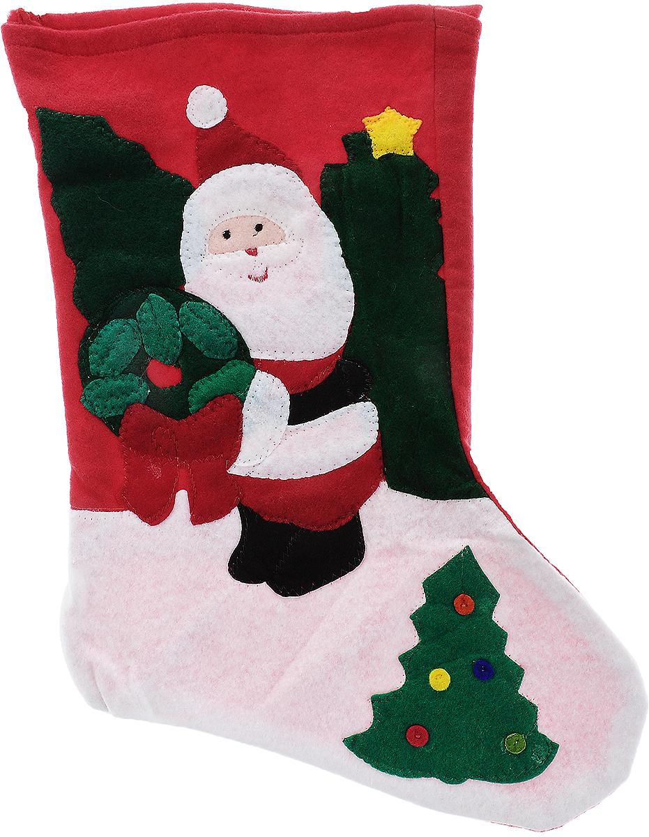 Мешок для подарков Winter Wings Носок. Дед Мороз, цвет: красный, зеленый, белый, 40 х 26 х 1 смN02024_синий, красныйМешок для подарков Winter Wings Носок. Дед Мороз выполнен из полиэстера в виде носка с изображением Деда Мороза. В мешочек можно спрятать подарки. С помощью специальной петельки украшение можно повесить в любом понравившемся вам месте. Новогодние украшения несут в себе волшебство и красоту праздника. Они помогут вам украсить дом к предстоящим праздникам и оживить интерьер по вашему вкусу. Создайте в доме атмосферу тепла, веселья и радости, украшая его всей семьей.