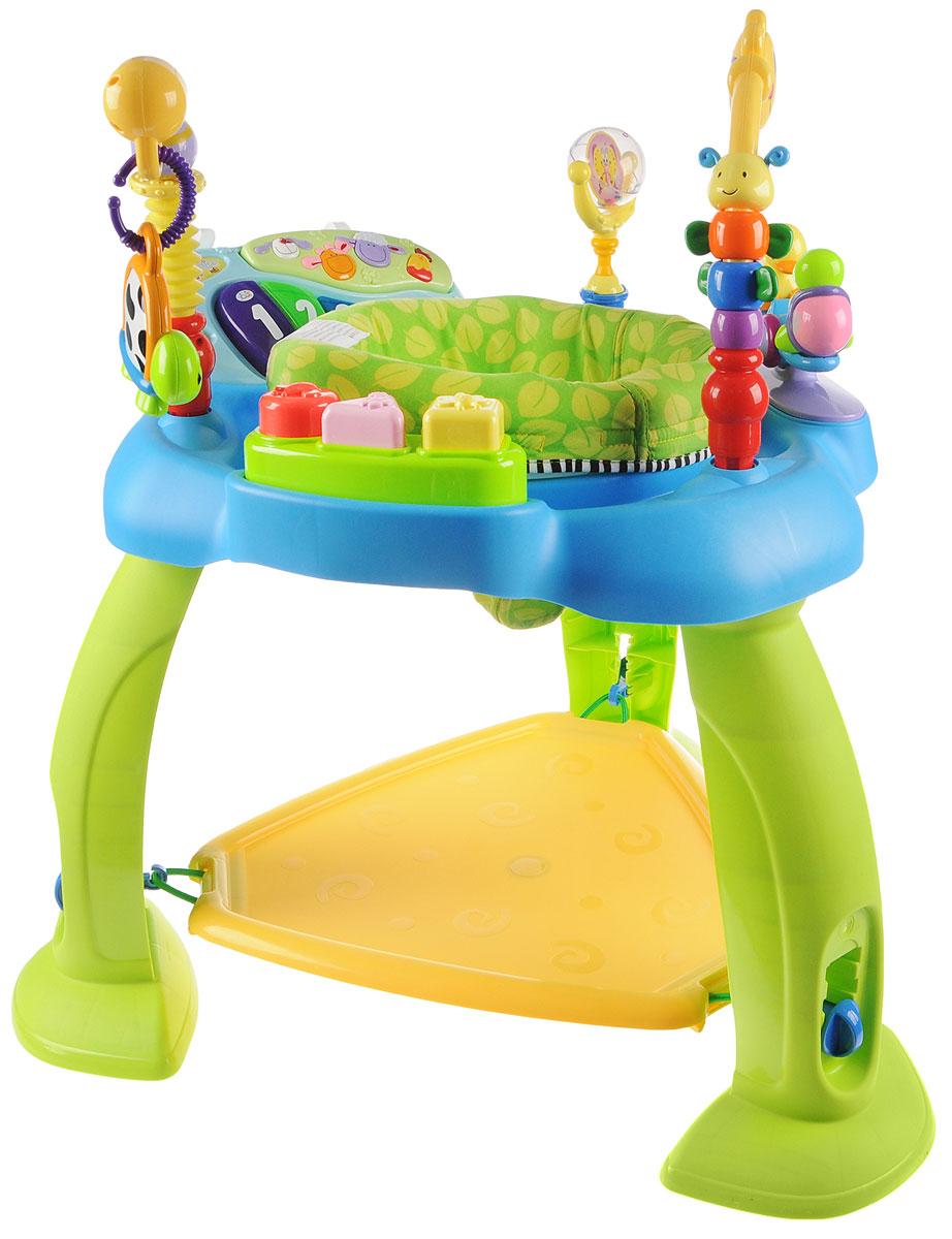 Huile Toys Развивающий музыкальный центр Стул-прыгунок цвет голубой696_голубойРазвивающий музыкальный центр Huile Toys Стул-прыгунок - незаменимый помощник для родителей, развивающий одновременно физические, музыкальные, когнитивные способности малыша. Благодаря подножке-трамплину ребенок может стоять и прыгать, развивая тем самым координацию рук и тренируя мышцы ног. Стульчик вращается на 360 градусов, позволяя ребенку поворачиваться в любом направлении, что способствует улучшению координации движений и ориентации в пространстве. Съемное пианино можно установить на кроватку. Кнопки с животными позволяют услышать звуки животных и песни, а 5 клавиш пианино при нажатии издают различные музыкальные звуки. Сравнивая цвет и размер разнообразных игрушек, ребенок развивает визуальное восприятие. Посредством различных действий - нажать, потянуть, удержать - ребенок тренирует координацию рук и глаз, а также мелкую моторику. Необходимо купить 2 батарейки напряжением 1,5V типа АА (не входят в комплект).