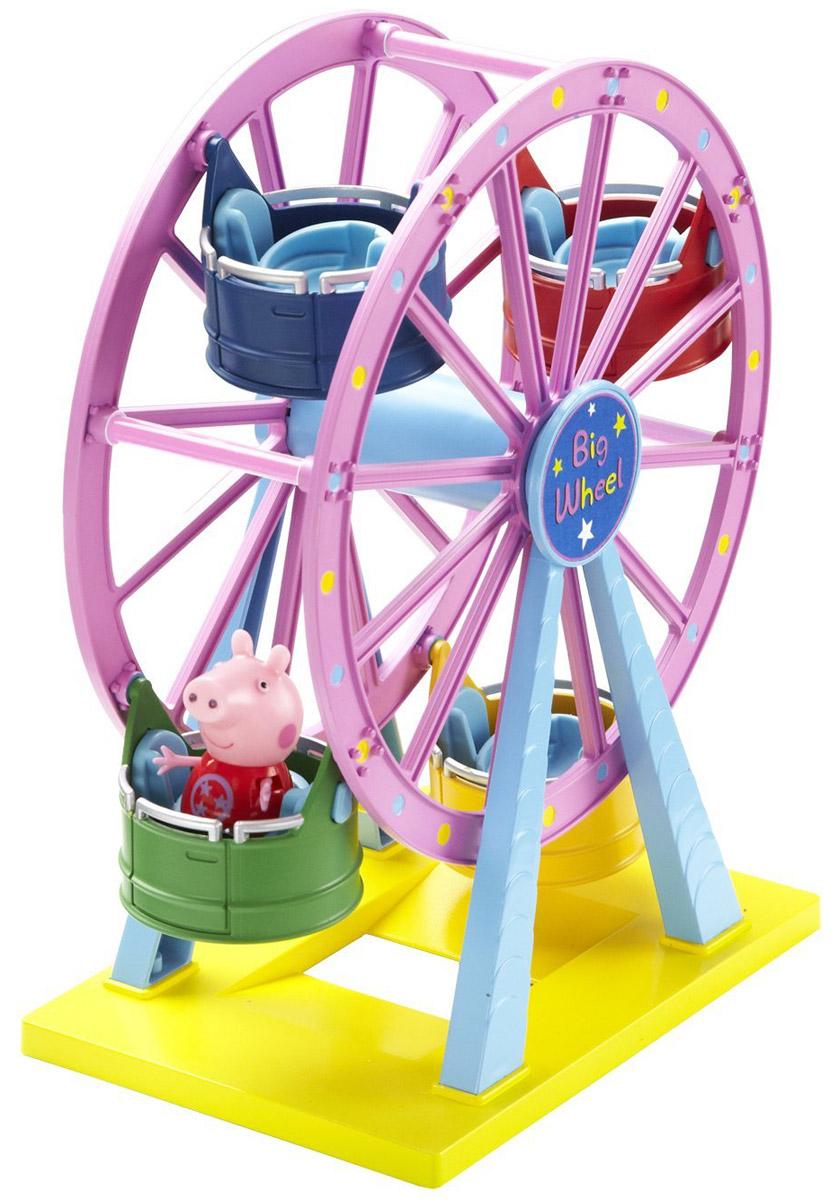 Peppa Pig Игровой набор Колесо обозрения30400С игровым набором Peppa Pig Колесо обозрения ваш малыш окунется в мир увлекательных приключений свинки Пеппы. На колесе находятся четыре открытые кабинки с удобными сиденьями, подходящими для Пеппы, Джорджа и их друзей, благодаря специальным углублениям. Крутите колесо и свинка Пеппа будет весело кататься на аттракционе, покачиваясь из стороны в сторону. Сюжетно-ролевая игра с таким набором развивает у ребенка координацию движений, воображение, навыки общения и речь. Набор выполнен из высококачественного и безопасного пластика. В набор входит фигурка свинки Пеппы, другие фигурки продаются отдельно.
