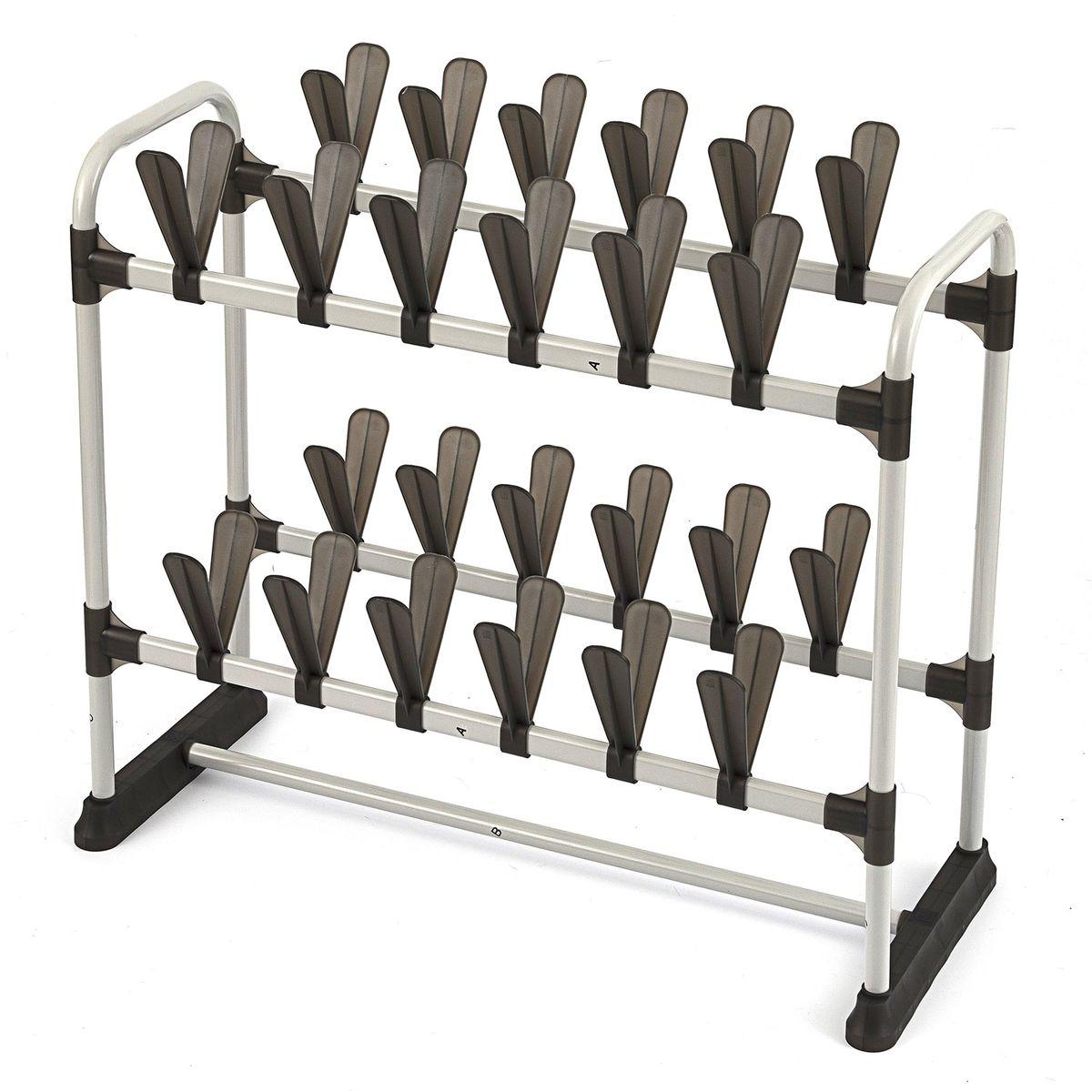 Обувница Homsu, на 24 пары, 73 х 32 х 64 смHOM-685Удобная и компактная система хранения рассчитанная на 24 пары обуви. Данная система позволит вам хранить обувь раздельно и очень аккуратно. Благодаря конструкции в два этажа данная система сэкономит место в вашей прихожей, а так же её можно установить в гардеробную или шкаф-купе. Размер изделия:73x32x64см