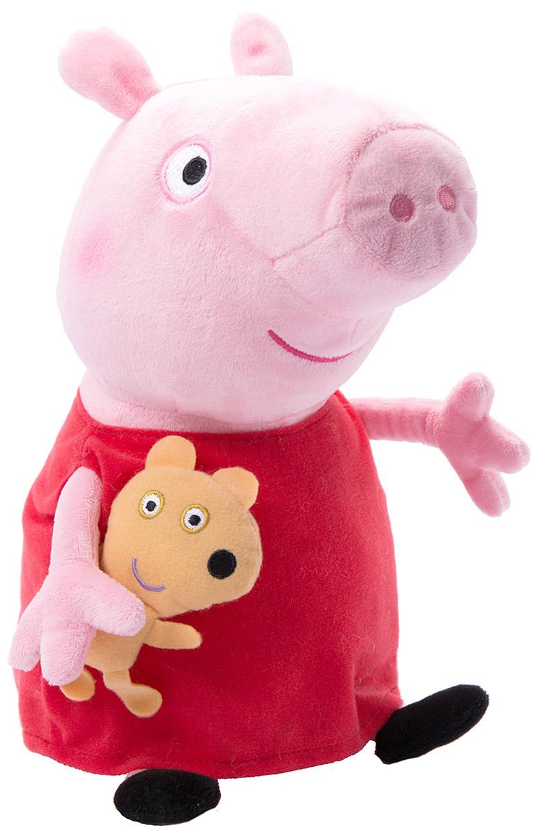 Peppa Pig Мягкая игрушка Пеппа с игрушкой 40 см31157Мягкая игрушка Peppa Pig Пеппа с игрушкой изготовлена в виде главной героини популярного детского мультипликационного сериала Свинка Пеппа. С ней можно весело играть днем и сладко спать ночью, ведь гораздо увлекательней отправляться в волшебную страну снов в компании с плюшевой подругой. Свинка одета в красное платье и как будто идет навстречу, чтобы дружелюбно пожать руку. Игрушка выполнена из высококачественного и приятного на ощупь материала. Великолепное качество исполнения делают эту игрушку чудесным подарком к любому празднику, а оригинальный жизнерадостный образ представит такой подарок в самом лучшем свете.
