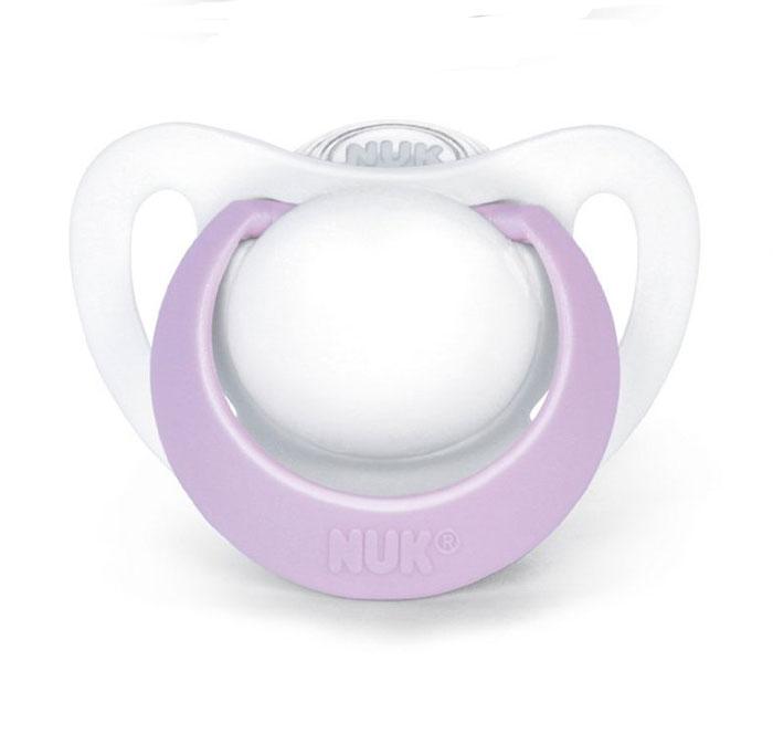 NUK Пустышка латексная Genius ортодонтическая цвет белый сиреневый от 0 до 2 месяцев