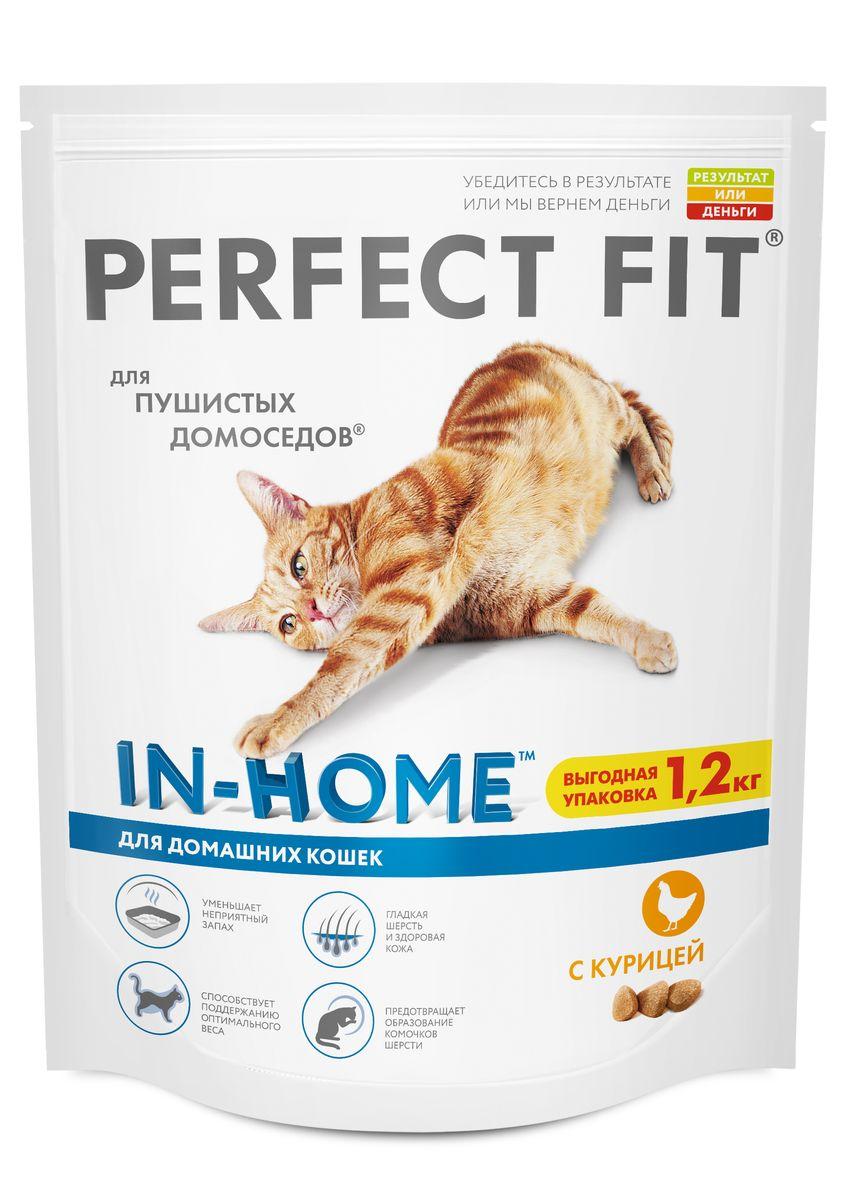 Корм сухой Perfect Fit, для домашних кошек, с курицей, 1,2 кг42008