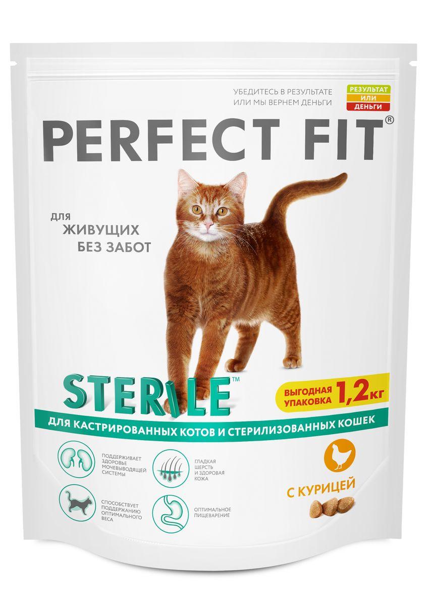 Корм сухой Perfect Fit, для стерилизованных кошек, с курицей, 1,2 кг42010