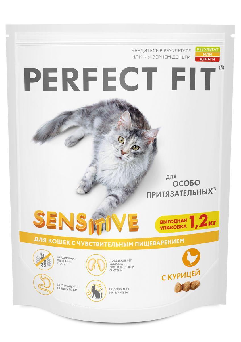 Корм сухой Perfect Fit, для чувствительных кошек, с курицей, 1,2 кг42009