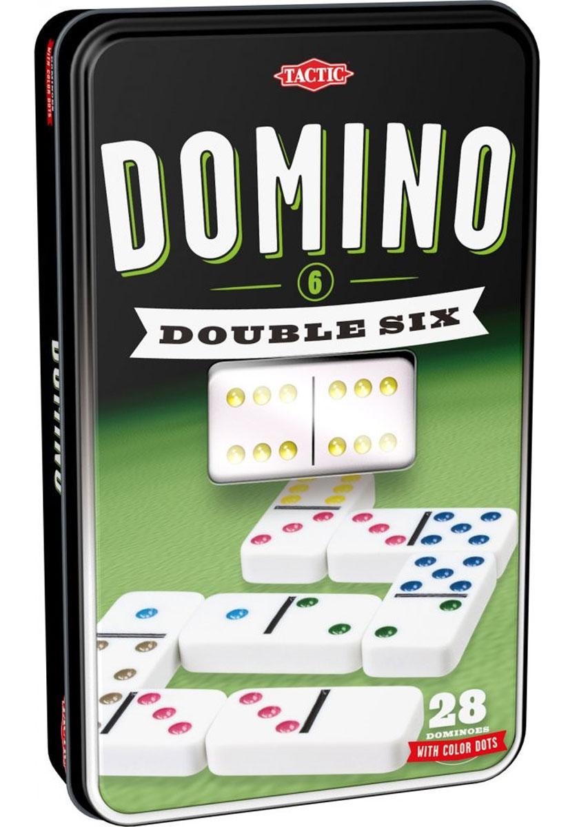 Tactic Домино Double Six 5391353913Домино Tactic Double Six - классическая игра в необычном оформлении. Кости домино хранятся в металлической коробке. Домино - игра, в процессе которой выстраивается цепь костяшек, соприкасающихся половинками с одинаковым числом очков. Костяшка домино представляет собой прямоугольную плитку, лицевая сторона которой разделена линией на две квадратные части. Каждая часть содержит от нуля до шести точек. Подготовка к игре: Переверните все кости домино лицевой стороной вниз. 6 дублей домино: 2-4 игрока. Все игроки получают 5 костей домино. 9 дублей домино: 2-6 игроков. Все игроки получают 7 костей домино. 12 дублей домино: 2-7 игроков. Все игроки получают 9 костей домино. Разложите перед собой все кости домино лицевой стороной вверх. Не показывайте их другим игрокам. Оставшиеся кости поместите в центре стола как запасник (обычно называемый базар). Цель игры: Выигрывайте раунды и считайте баллы. Победителем является игрок, который первым накопит 100 баллов. Как играть:...