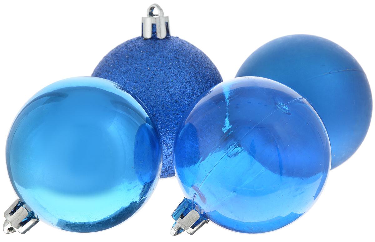 Набор новогодних подвесных украшений Winter Wings Шары, цвет: синий, диаметр 5,5 см, 4 штN181097_синийНабор подвесных украшений Winter Wings Шары прекрасно подойдет для праздничного декора новогодней ели. Набор состоит из 4 пластиковых украшений в виде шаров. 1 шар прозрачный, 1 глянцевый, 1 матовый и 1 покрыт блестками. Для удобного размещения на елке для каждого украшения предусмотрено отверстие для петельки. Елочная игрушка - символ Нового года. Она несет в себе волшебство и красоту праздника. Создайте в своем доме атмосферу веселья и радости, украшая новогоднюю елку нарядными игрушками, которые будут из года в год накапливать теплоту воспоминаний. Откройте для себя удивительный мир сказок и грез. Почувствуйте волшебные минуты ожидания праздника, создайте новогоднее настроение вашим дорогим и близким.