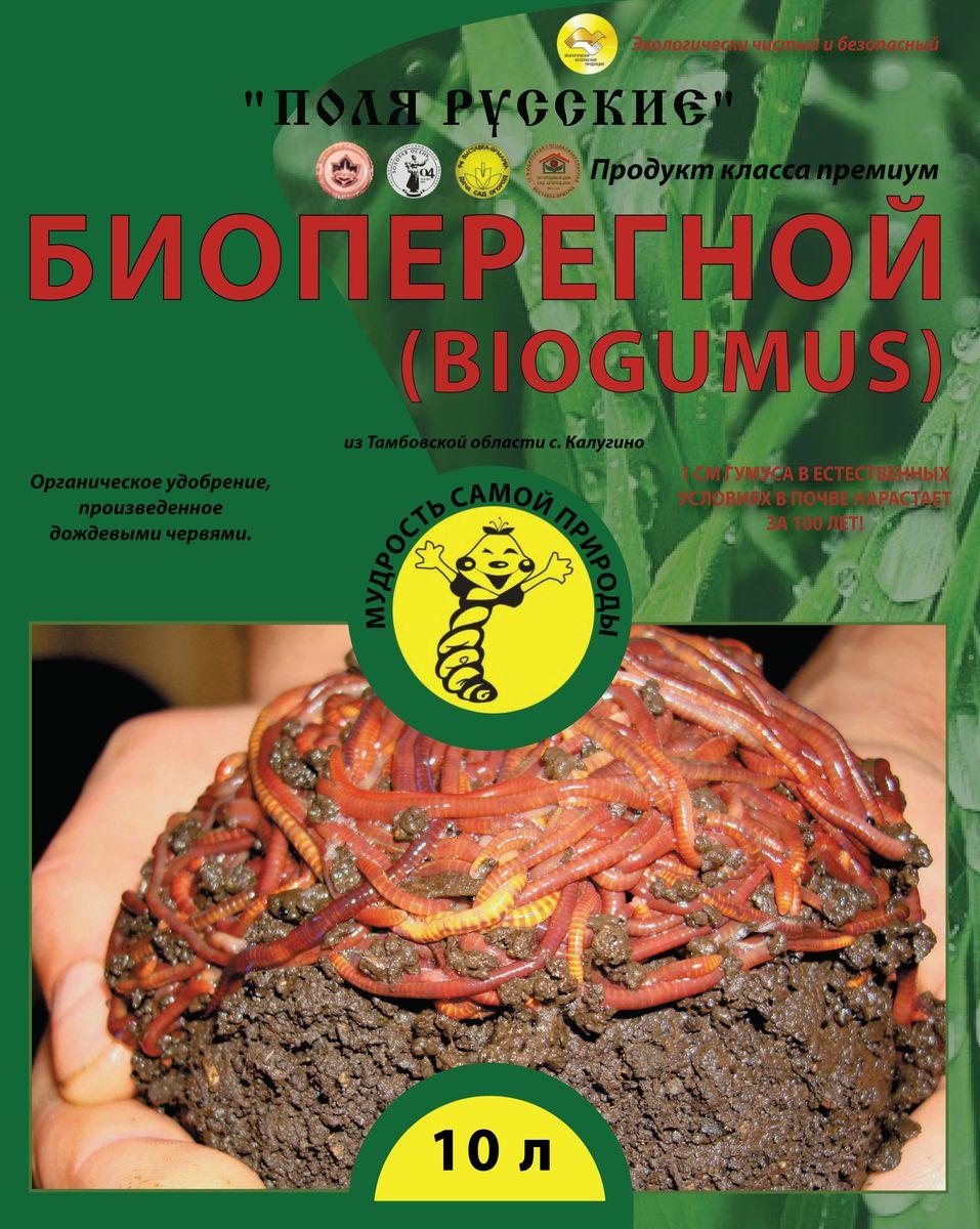 Удобрение Поля Русские Биогумус, 10 л0278Поля Русские Биогумус органическое удобрение.Превосходит навоз и компосты по содержанию гумуса в 4-8 раз. Он содержит большое количество ферментов, витаминов, почвенных антибиотиков, гормонов роста растений и других биологически активных веществ. Продолжительность действия биогумуса более 5 лет. В отличие от навоза биогумус не обладает инертностью - растения реагируют сразу на него. При использовании биогумуса вегетационный период у растений сокращается на 1,5-2 недели.