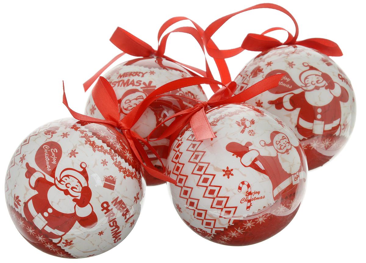 Набор новогодних подвесных украшений Winter Wings Веселый Дед Мороз, диаметр 7,5 см, 4 штN180946Набор Winter Wings Веселый Дед Мороз отлично подойдет для декорации вашего дома и новогодней ели. Набор состоит из 4 украшений, выполненных из пластика в виде шаров. Изделия оснащены специальными текстильными петельками для подвешивания в виде бантиков. Набор упакован в красочную подарочную коробку. Елочная игрушка - символ Нового года. Она несет в себе волшебство и красоту праздника. Создайте в своем доме атмосферу веселья и радости, украшая всей семьей новогоднюю елку нарядными игрушками, которые будут из года в год накапливать теплоту воспоминаний.