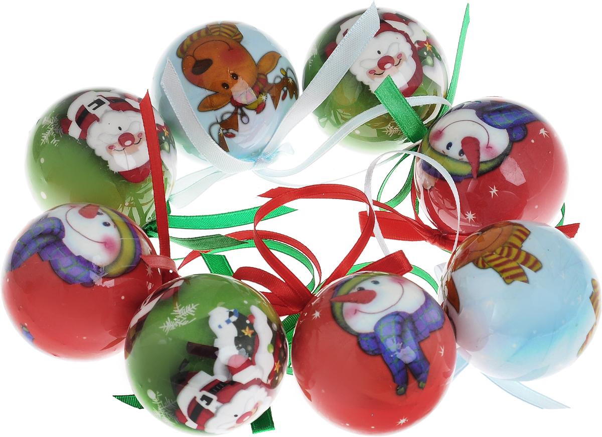 Набор новогодних подвесных украшений Winter Wings Новогодние герои, диаметр 5 см, 8 штN181200Набор Winter Wings Новогодние герои отлично подойдет для декорации вашего дома и новогодней ели. Набор состоит из 8 украшений, выполненных из пластика в виде шаров. Изделия оснащены специальными текстильными петельками для подвешивания в виде бантиков. Набор упакован в красочную подарочную коробку. Елочная игрушка - символ Нового года. Она несет в себе волшебство и красоту праздника. Создайте в своем доме атмосферу веселья и радости, украшая всей семьей новогоднюю елку нарядными игрушками, которые будут из года в год накапливать теплоту воспоминаний.