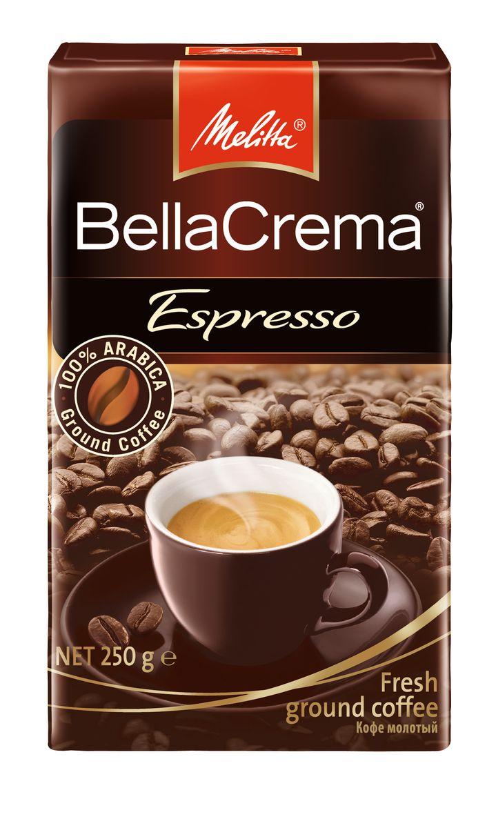 Melitta BellaCrema Espresso кофе молотый, 250 г00437100% Арабика - Крепкий кофе для Эспрессо Кофейная композиция с легкими перечными нотками Мягкая упаковка с клапаном Предназначен для приготовления кофе в кофеварках и кофемашинах, Можно молоть вручную и варить в турке