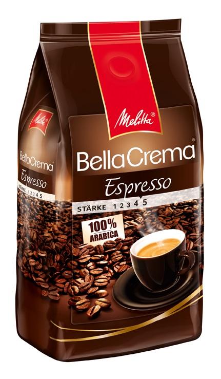 Melitta BellaCrema Espresso кофе в зернах, 1 кг00830100% Арабика - Крепкий кофе для Эспрессо Кофейная композиция с легкими перечными нотками Мягкая упаковка с клапаном Предназначен для приготовления кофе в кофеварках и кофемашинах, Можно молоть вручную и варить в турке