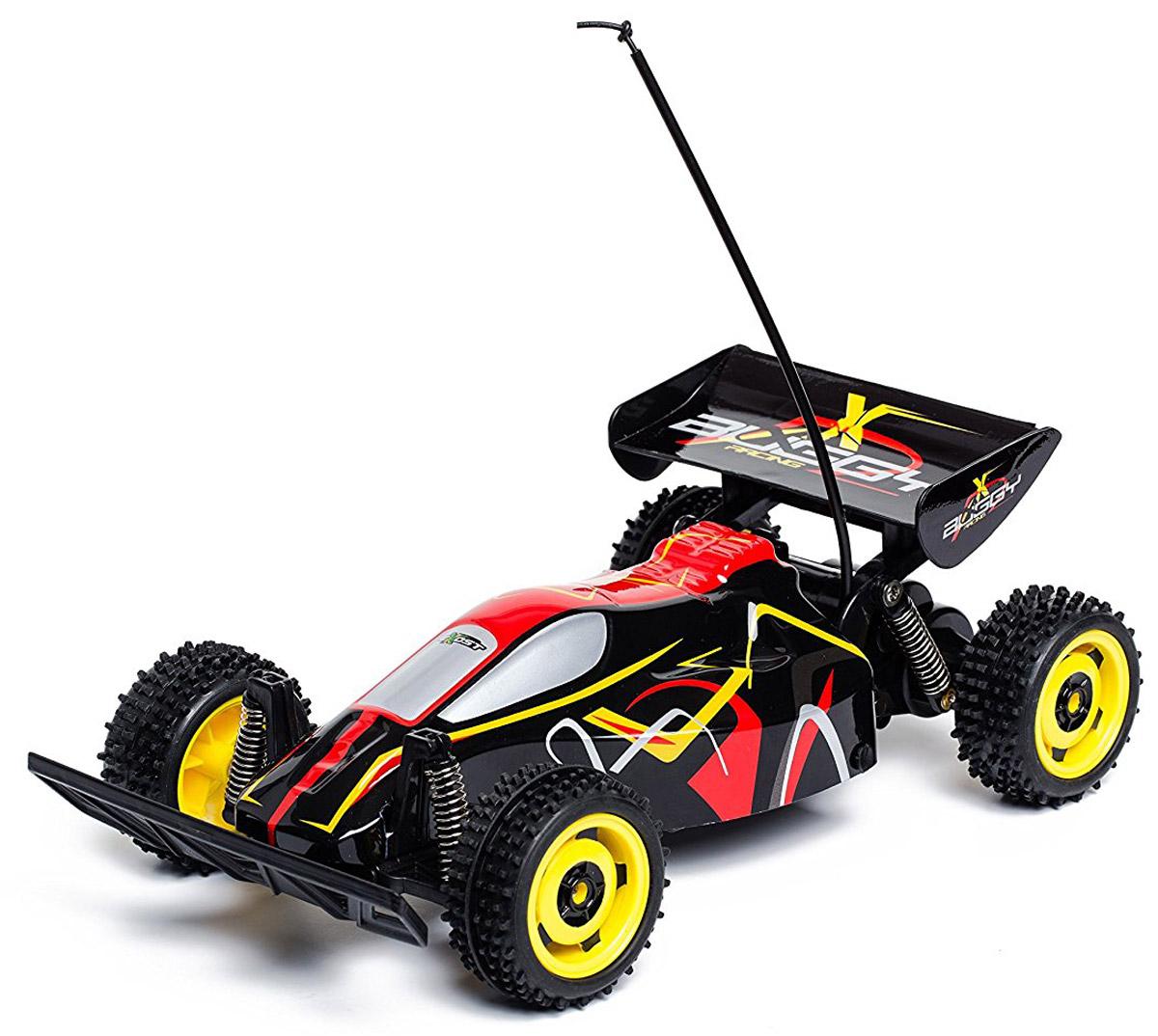 Silverlit Машина на радиоуправлении Buggy RacingTE104Машинка на радиоуправлении Silverlit Buggy Racing обязательно доставит мальчику море удовольствия, ведь он сможет управлять собственной гоночной машиной. Гоночный багги в масштабе 1:18 может разгоняться до 9 км/ч. Радиус действия пульта управления - до 25 метров. Пульт управления автомобилем пистолетного типа, его удобно держать в одной руке. Рулевое колесо управляет направлением движения модели, а курок - ее двигателем и тормозами. Для работы машины необходимы 4 батарейки типа АА напряжением 1,5V (товар комплектуется демонстрационными). Для работы пульта управления необходимы 2 батарейки типа АА напряжением 1,5V (товар комплектуется демонстрационными).