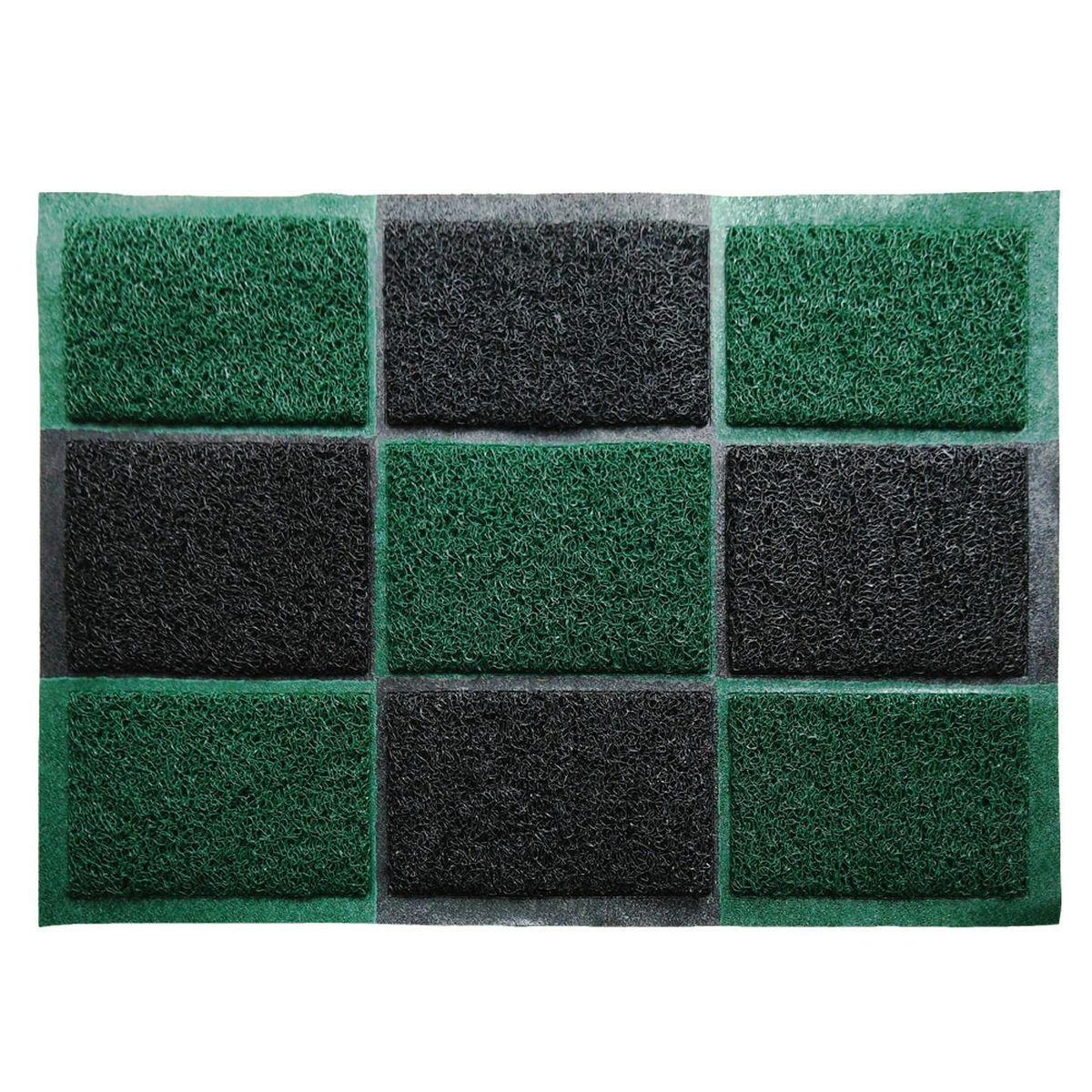 Коврик придверный Vortex, пористый, цвет: черный, зеленый, 40 х 60 см коврик придверный sunstep грязесборный 60 х 40 см