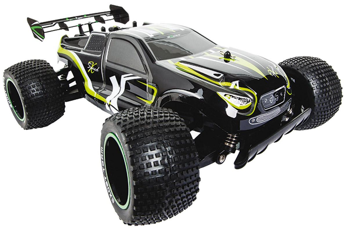 Silverlit Машина на радиоуправлении XSpeed 2TE131Машинка на радиоуправлении Silverlit XSpeed 2 больше всего подходит для дрифта на асфальте или ралли по укатанному грунту. Благодаря усиленному каркасу может ездить и по бездорожью. Развивает скорость до 15 км/ч. Четкие широкие протекторы и мягкая подвеска позволяют игрушечному автомобилю держать сцепление с дорогой и плавно входить в повороты. Радиоуправляемая модель XSpeed 2 отличается внушительным размером, ее длина составляет 35 см, масштаб 1:10. Это сверхбыстрая багги размера XXL, а значит запускать ее следует на больших открытых площадках, где мало прохожих. Машина работает от сменного аккумулятора (в комплекте). Для работы пульта управления необходимы 2 батарейки типа АА напряжением 1,5V (товар комплектуется демонстрационными).