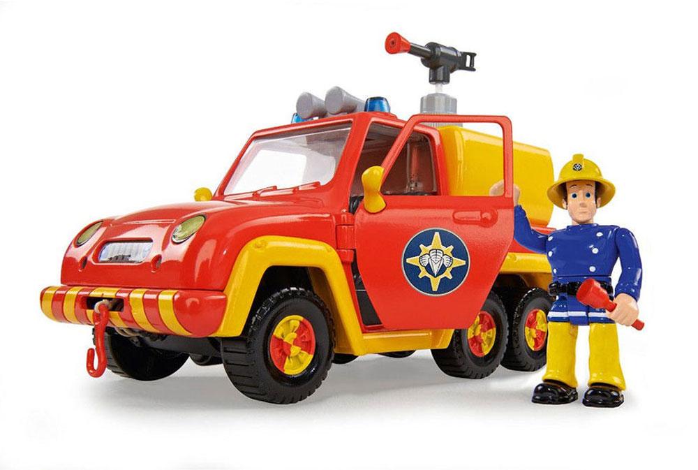 Simba Пожарная машина Venus9251054Если ваш ребенок обожает смотреть мультсериал о приключениях отважного пожарного по имени Сэм, то он будет в восторге, получив в подарок не только его фигурку, но и машину героя, дополненную разнообразными игровыми аксессуарами. Особенно детям понравится разбрызгивать воду из пожарной помпы, изображая процесс тушения и представляя себя в роли спасателя. Реалистичность процессу придают подвижные руки Сэма, в которые дети смогут вставить специальные инструменты. В наборе предусмотрена не только фигурка пожарного Сэма, известного детям по популярному мультфильму, но и другие игровые аксессуары (огнетушитель, аптечка, ограждение). На кузове машинки установлена помпа для воды с функцией разбрызгивания. Для этого необходимо наполнить специальный резервуар, а потом нажать на пушку. Крыша автомобиля дополнена функциональной сиреной, звук которой включается нажатием на кнопочку. Двери машины можно открывать и сажать внутрь героя, а также рассматривать внутреннее пространство изделия. ...