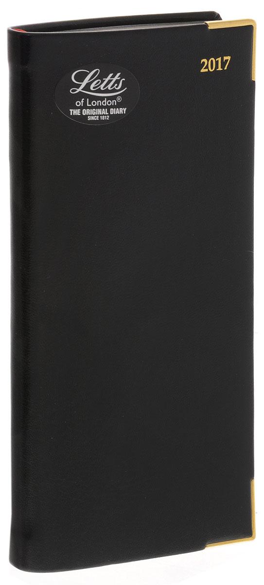 Letts Ежедневник 2017 Lexicon датированный 64 листа цвет черный формат А6412128310, 822946Компактный ежедневник Letts Lexicon 2017 - идеально подойдёт тем, кто ценит настоящую английскую классику. Ежедневник выполнен в твердом переплете из искусственной кожи, которую сложно отличить от натуральной. Обложка окантована металлическими уголками. Позолоченный срез страниц, уголки и золотое тиснение на обложке ежедневника подчеркнут респектабельный стиль владельца. Каждая страница ежедневника имеет почасовую и календарную нумерацию. На каждый час отведено по 1 строчке. На первых и последних страницах ежедневника представлен информационный блок. Он включает национальные праздники, календарь с 2016 по 2018 год, международные коды, часовые пояса, систему мер, длины и веса, размеры одежды, телефонную книгу и цветную карту мира. Ежедневники Letts Lexicon 2017 - это высочайшее качество, стиль, динамичность и оригинальность.