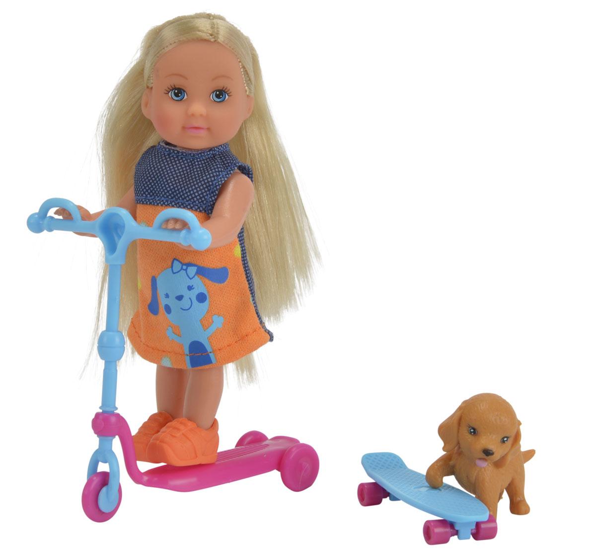 Simba Мини-кукла Еви на скутере цвет голубой розовый5732295_голубой, розовыйМини-кукла Simba Еви на скутере порадует любую девочку и надолго увлечет ее. Для летней прогулки в наборе с куколкой имеется все необходимое: скутер, скейт и фигурка собачки. Еви весело проводит время со своим любимым песиком. Малышка Еви одета в стильное летнее платье и оранжевые ботиночки. Вашей дочурке непременно понравится заплетать длинные белокурые волосы куклы, придумывая разнообразные прически. Руки, ноги и голова куклы подвижны, благодаря чему ей можно придавать разнообразные позы. Игры с куклой способствуют эмоциональному развитию, помогают формировать воображение и художественный вкус, а также разовьют в вашей малышке чувство ответственности и заботы. Великолепное качество исполнения делают эту куколку чудесным подарком к любому празднику.