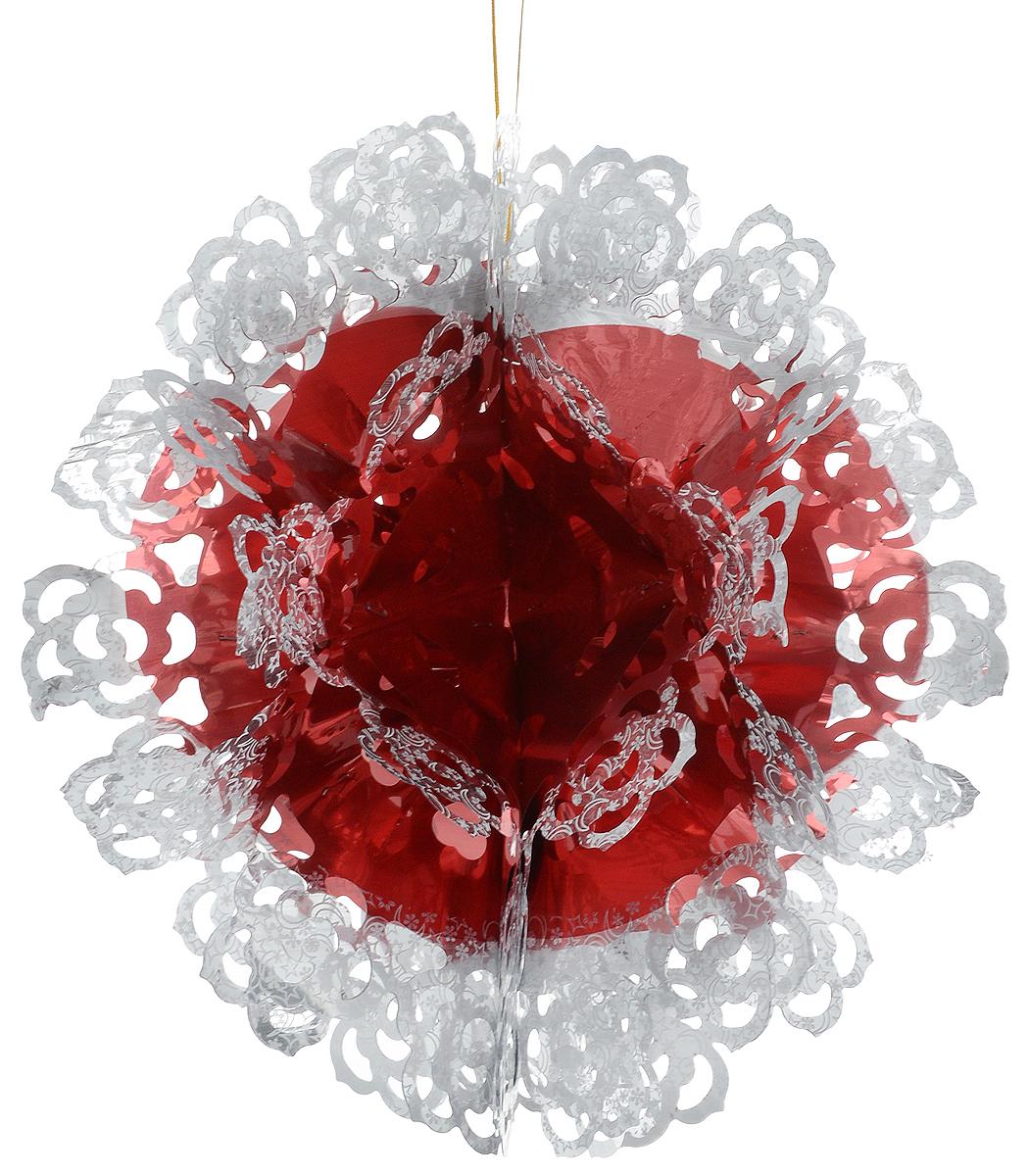 Гирлянда новогодняя Magic Time Шар ажурный красно-белый, 26 x 13 см42120Новогодняя гирлянда Magic Time Шар ажурный красно-белый прекрасно подойдет для декора дома. Украшение выполнено из ПЭТ. С помощью специальной петельки гирлянду можно повесить в любом понравившемся вам месте. Легко складывается и раскладывается. Новогодние украшения несут в себе волшебство и красоту праздника. Они помогут вам украсить дом к предстоящим праздникам и оживить интерьер по вашему вкусу. Создайте в доме атмосферу тепла, веселья и радости, украшая его всей семьей.