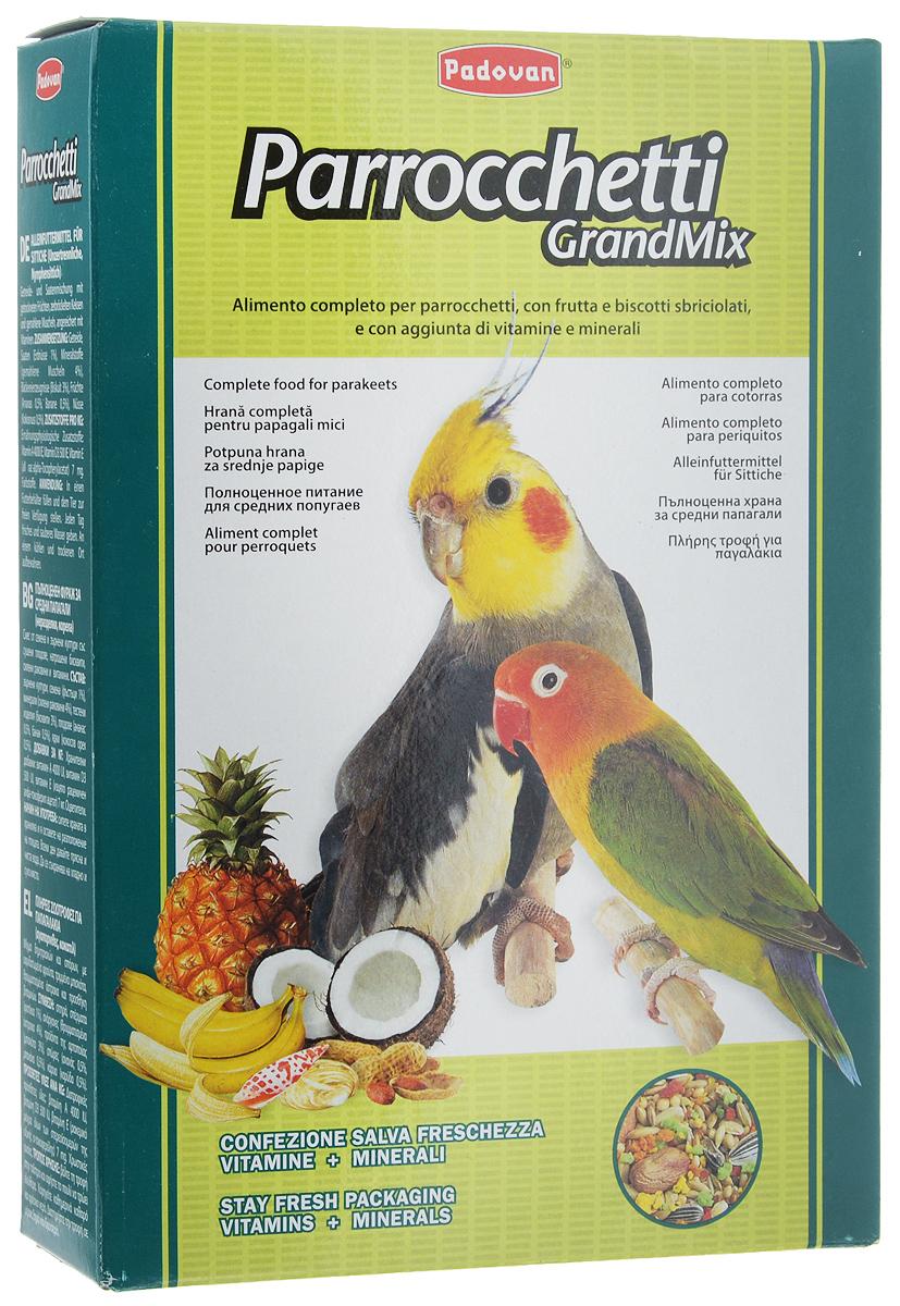 Корм для средних попугаев Padovan Parrocchetti GrandMix, 850 г16823Корм Padovan Parrocchetti GrandMix - это комплексный высококачественный основной корм для средних попугаев (неразлучники, кареллы и другие). Корм имеет в составе смесь зерен и семян с сушеными фруктами, раскрошенным печеньем и измельченными ракушками, а также витаминные добавки. Товар сертифицирован.