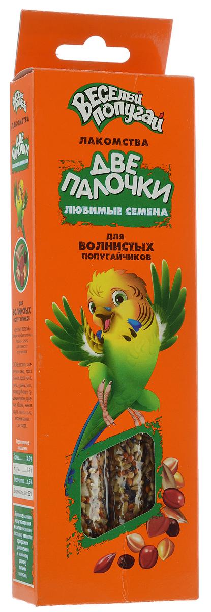 Лакомство для волнистых попугайчиков Веселый попугай Две Палочки, любимые семена, 70 г, 2 шт720Веселый попугай Две Палочки - потрясающие лакомства для волнистых попугайчиков. Две Палочки упакованы в дополнительную упаковку, которая дольше и надежнее сохраняет лакомства и защищает их от проникновения всяких вредителей. Кроме того, они имеют удобное крепление, которое позволяет легко, быстро и надежно закрепить палочку на прутьях клетки. На них гораздо больше вкусностей благодаря тонкой деревянной палочке. Лакомства Веселый попугай Две Палочки - это не только вкусная игрушка для пернатого друга, но и полезная работа для клюва. Товар сертифицирован.