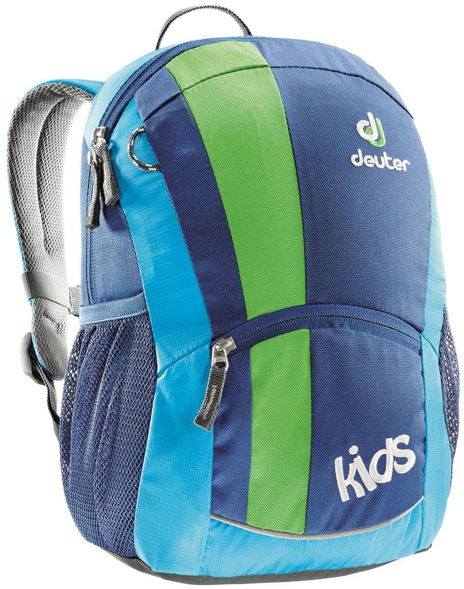 Рюкзак городской Deuter Kids, цвет: синий, 12 л36013_3080Детский рюкзак для детей от 3 лет -мягкая спинка -S-образные плечевые лямки с мягкими краями -боковые сетчатые карманы -именная бирка внутри -отражатель 3M спереди и на переднем кармане с молнией для безопасности -«потайной» карманчик на молнии сверху -петли для пристежки разных мелочей -Материал: Super-Polytex -Вес: 300 g -Объем: 12 l -Размеры: 36 x 22 x 18 см