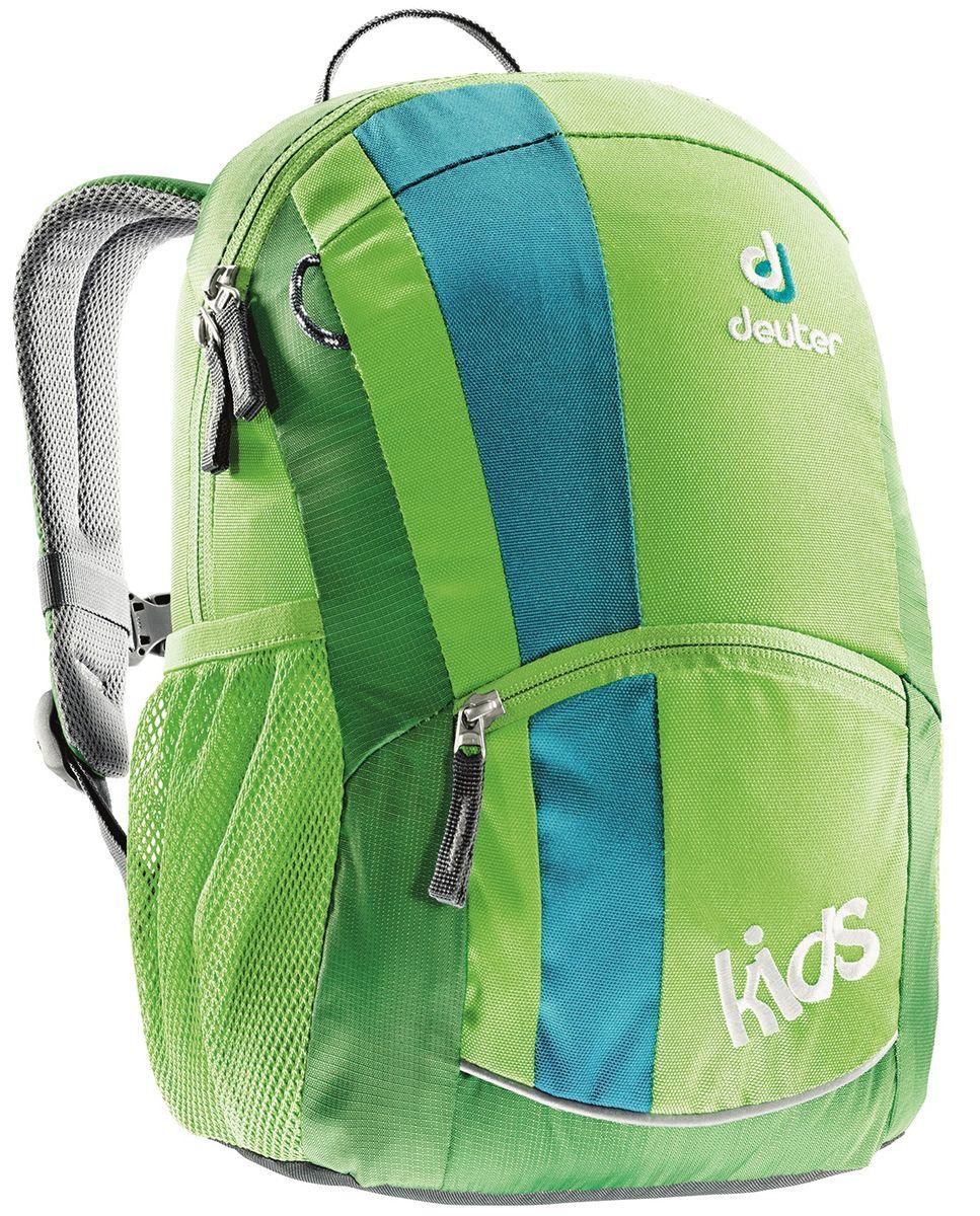 Рюкзак городской Deuter Kids, цвет: зеленый, 12 л36013_2008Детский рюкзак для детей от 3 лет мягкая спинка Sобразные плечевые лямки с мягкими краями боковые сетчатые карманы именная бирка внутри отражатель 3M спереди и на переднем кармане с молнией для безопасности потайной карманчик на молнии сверху петли для пристежки разных мелочей Материал: SuperPolytex Вес: 300 g Объем: 12 l Размеры: 36 x 22 x 18 см.
